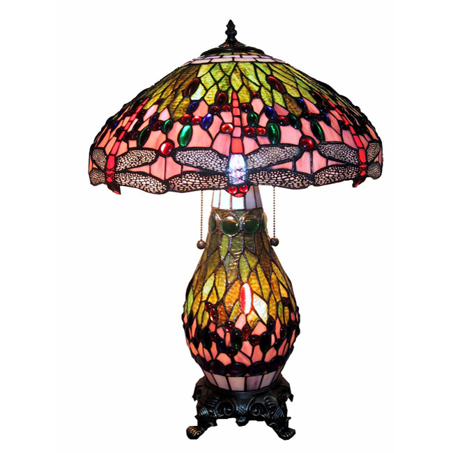 Unique Chic Decor | Tiffany-style Lighted Base Pink Dragonfly Lamp
